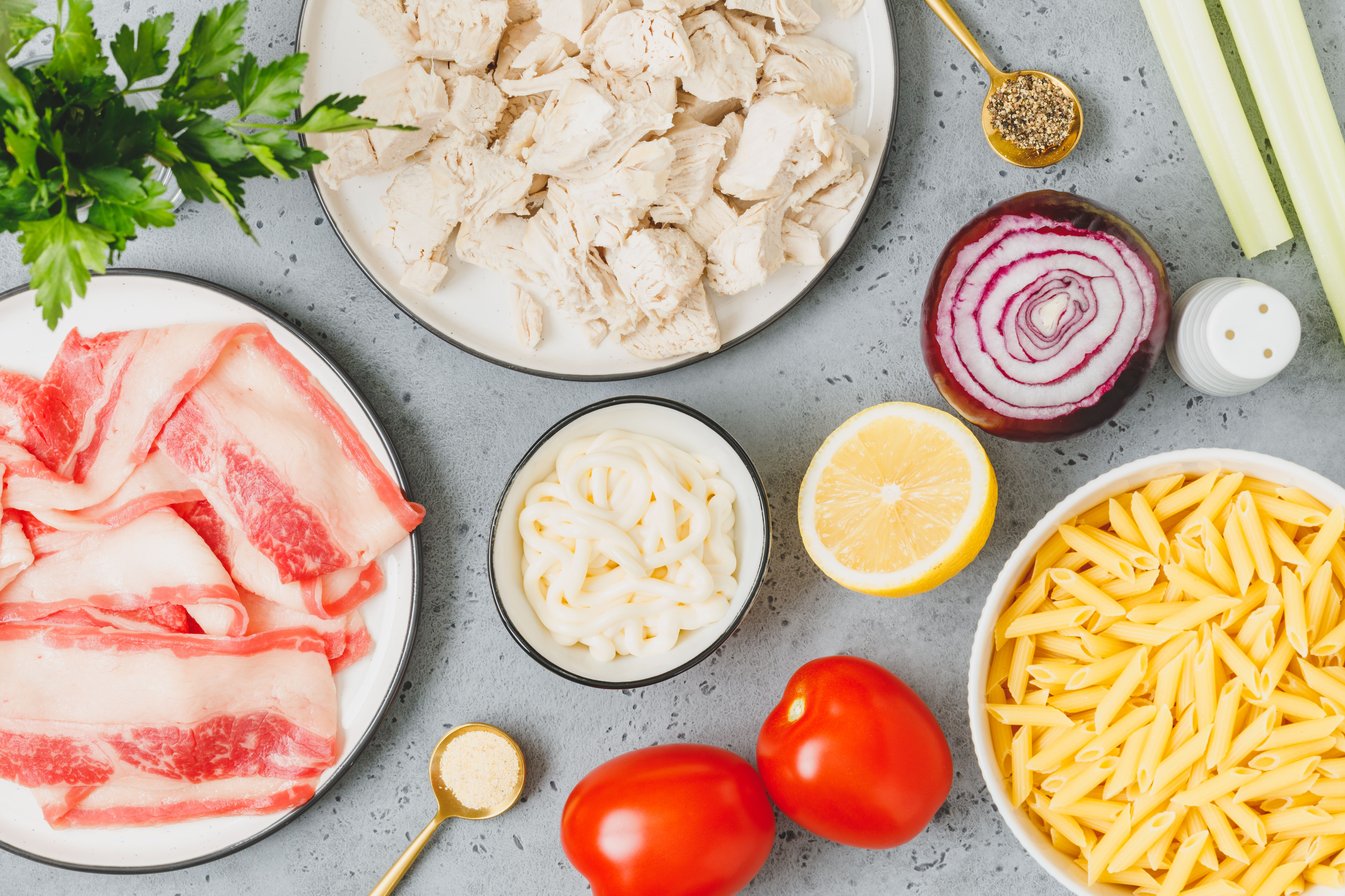 Ingredients for pasta salad with chicken and bacon