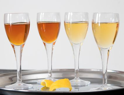 Sweet Vermouth and Dry Vermouth on a Serving Tray