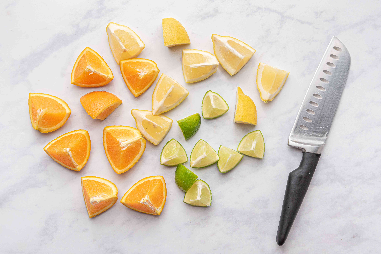 lemons, limes and oranges cut into pieces