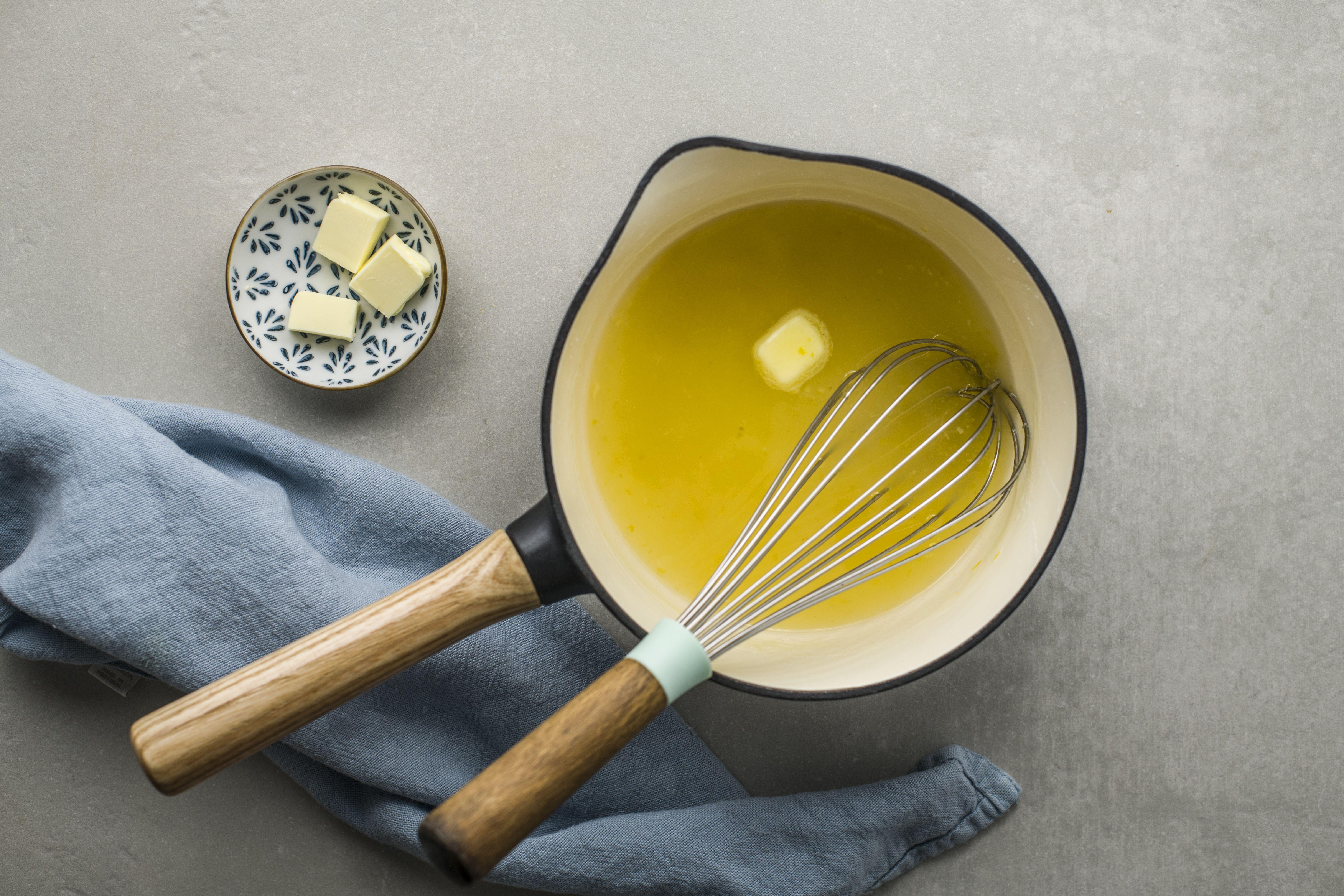 Whisk butter into lemon sauce