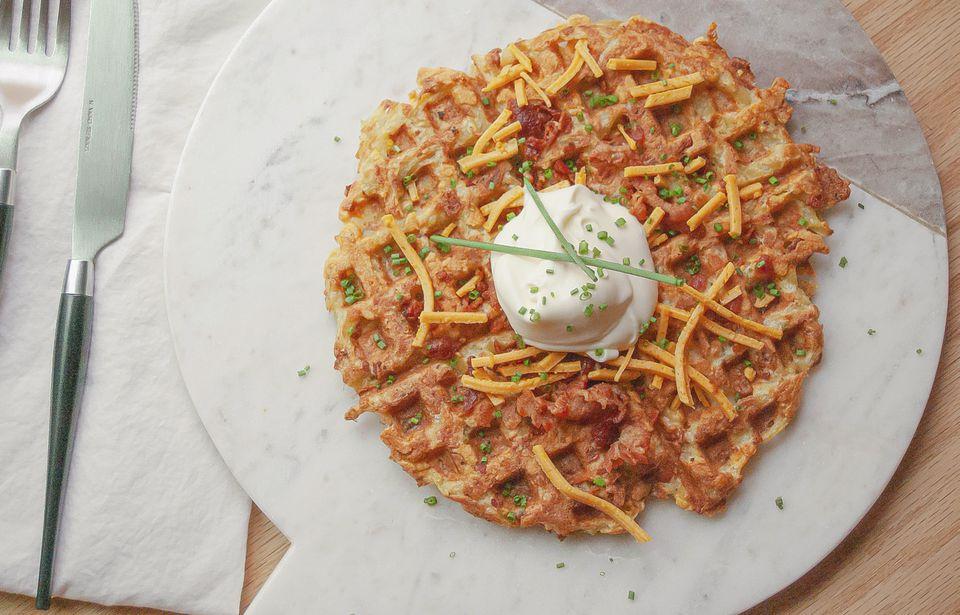 potato waffle on plate