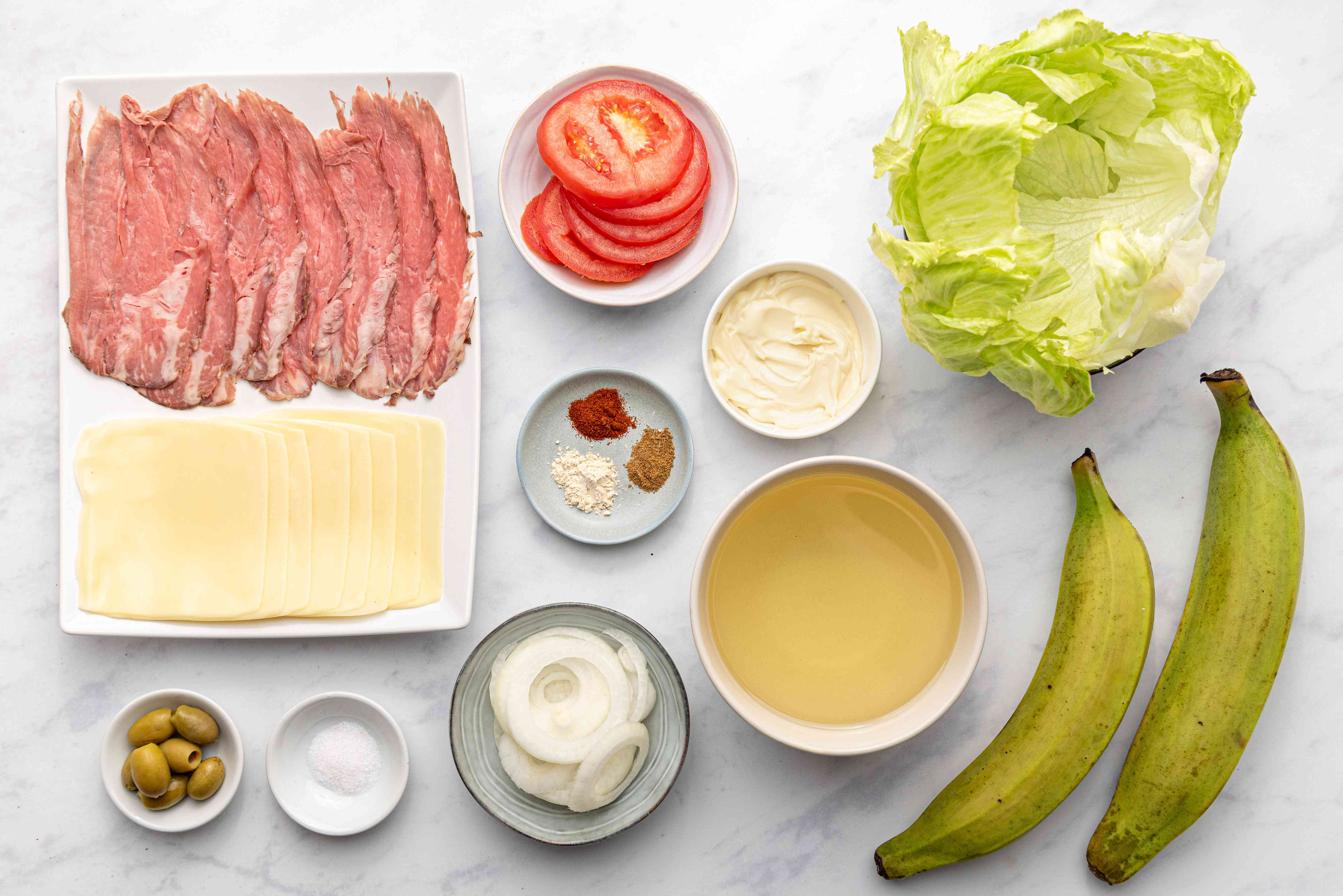 Smashed Plantain Sandwich (Jibarito) ingredients