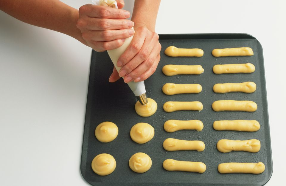 Piping choux pastry dough