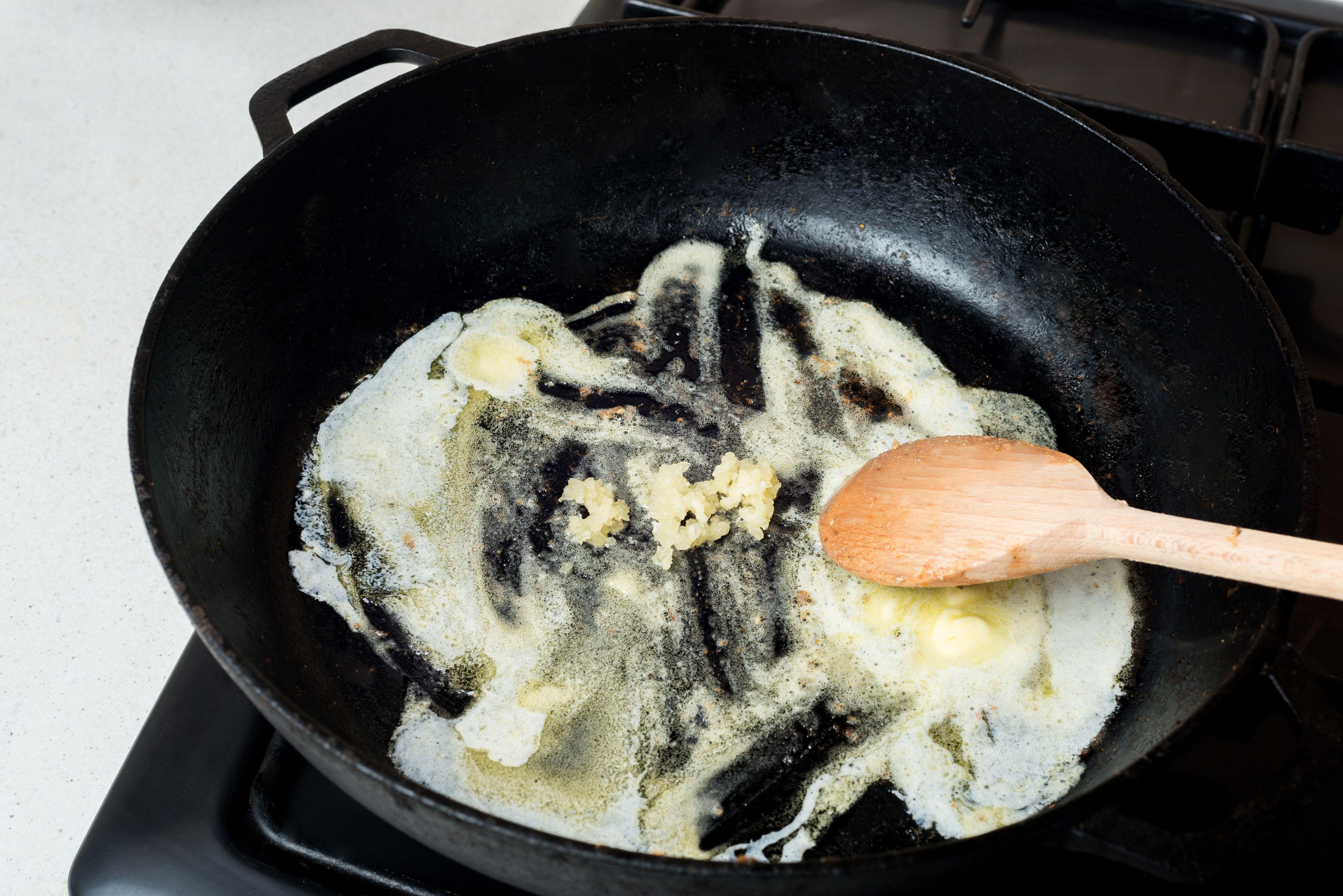 Melt the butter add minced garlic