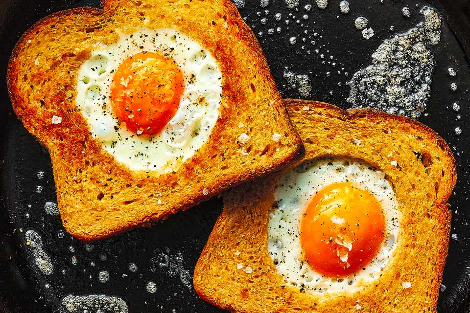 Eggs in a Basket in a pan