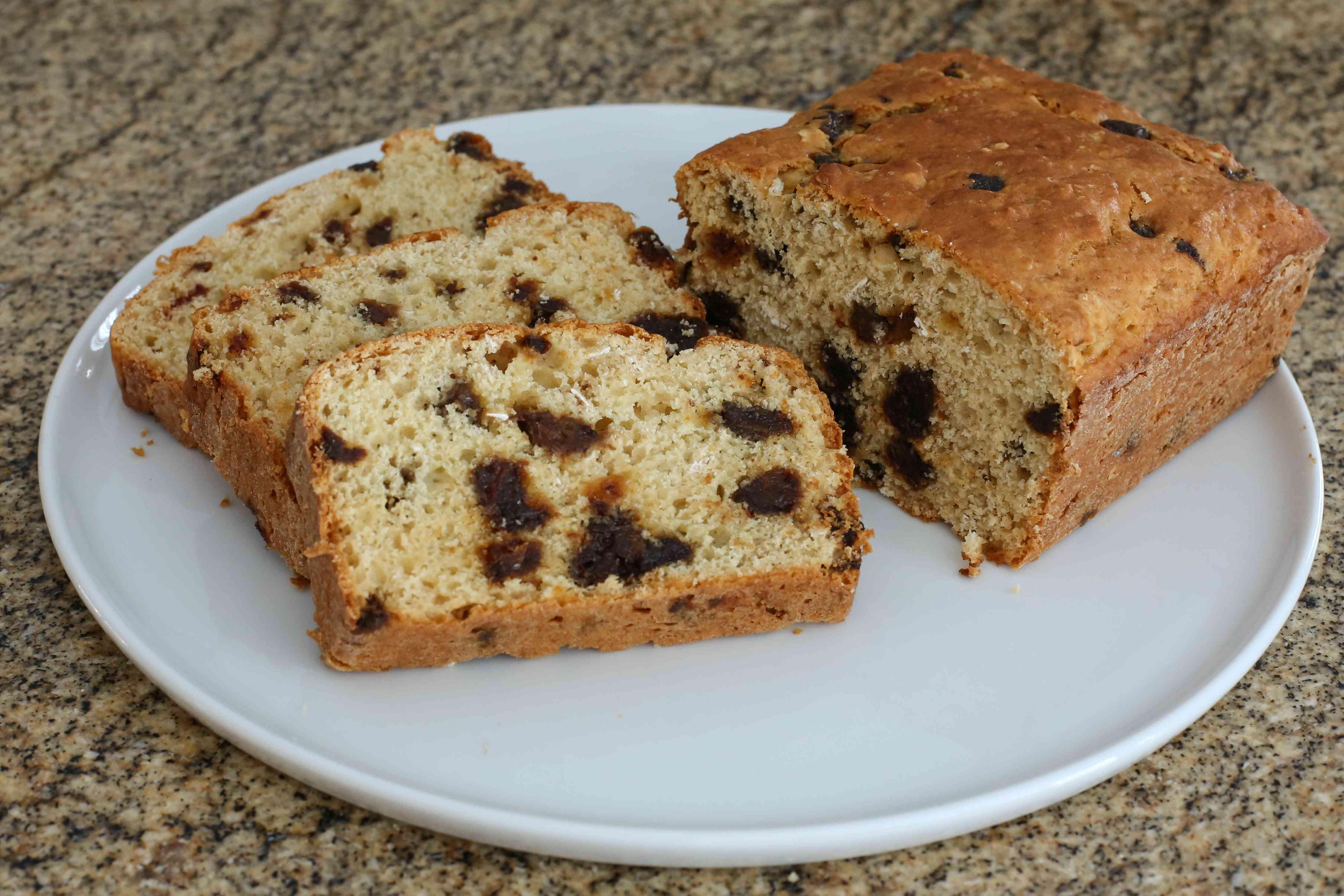 date oat bread sliced