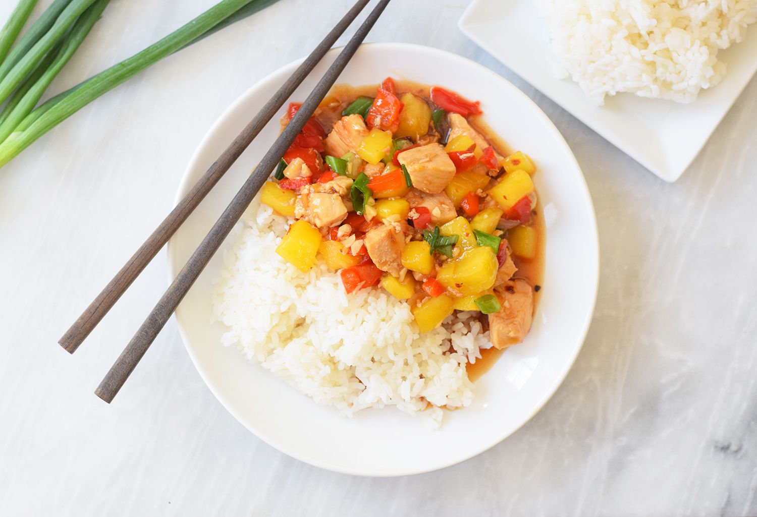 Pineapple chicken stir-fry with rice