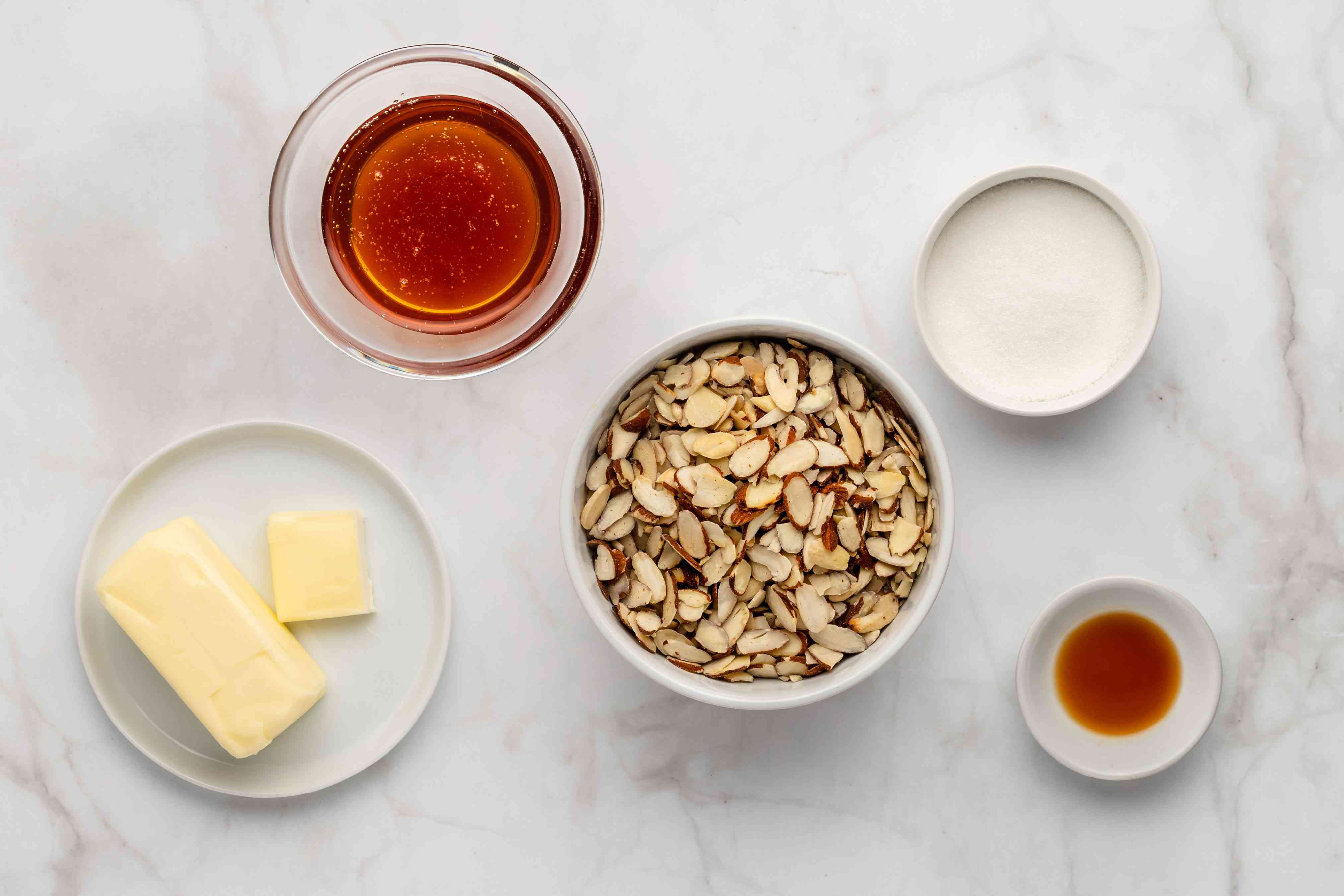 Almond topping ingredients for bee sting cake