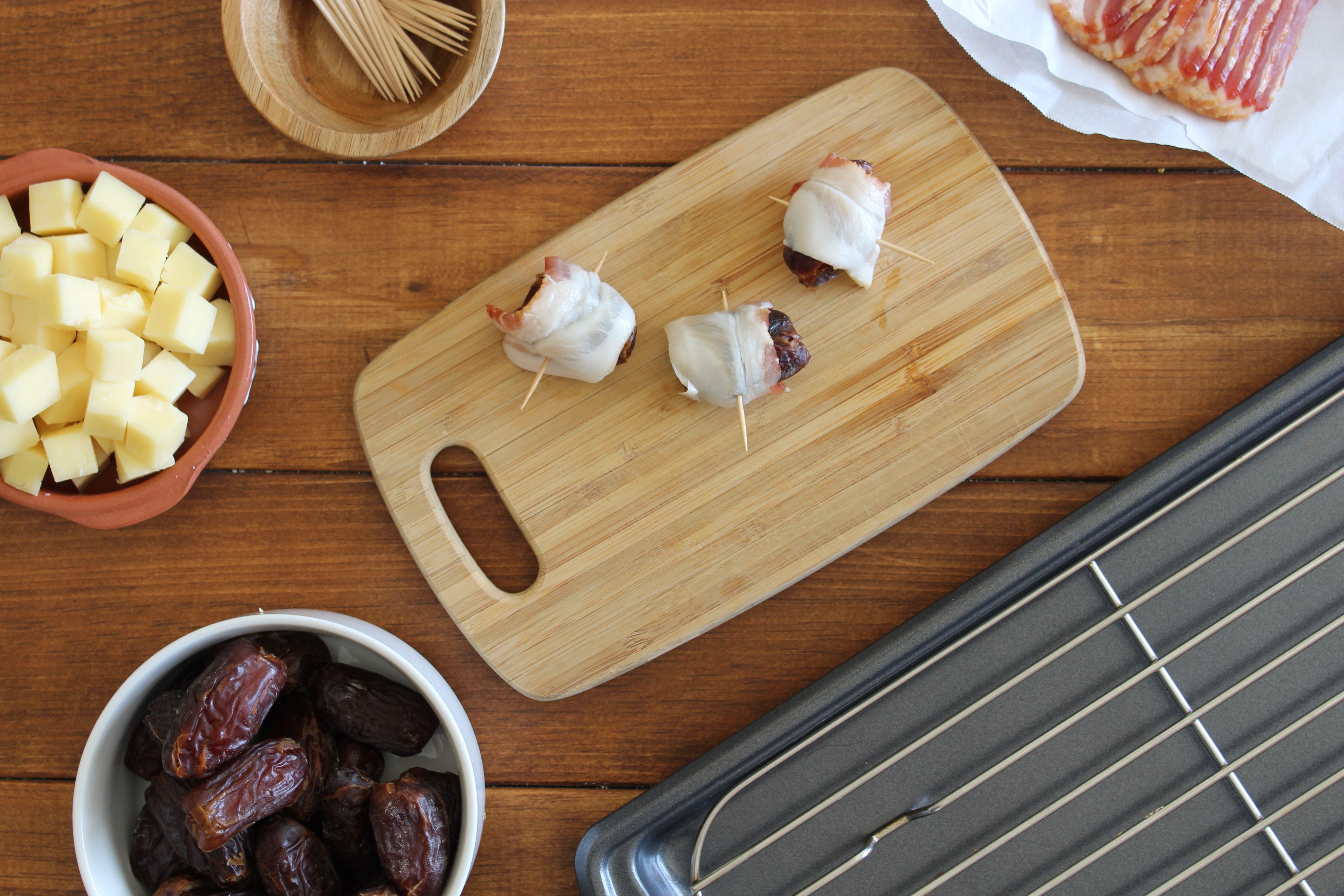 Wrap bacon around date