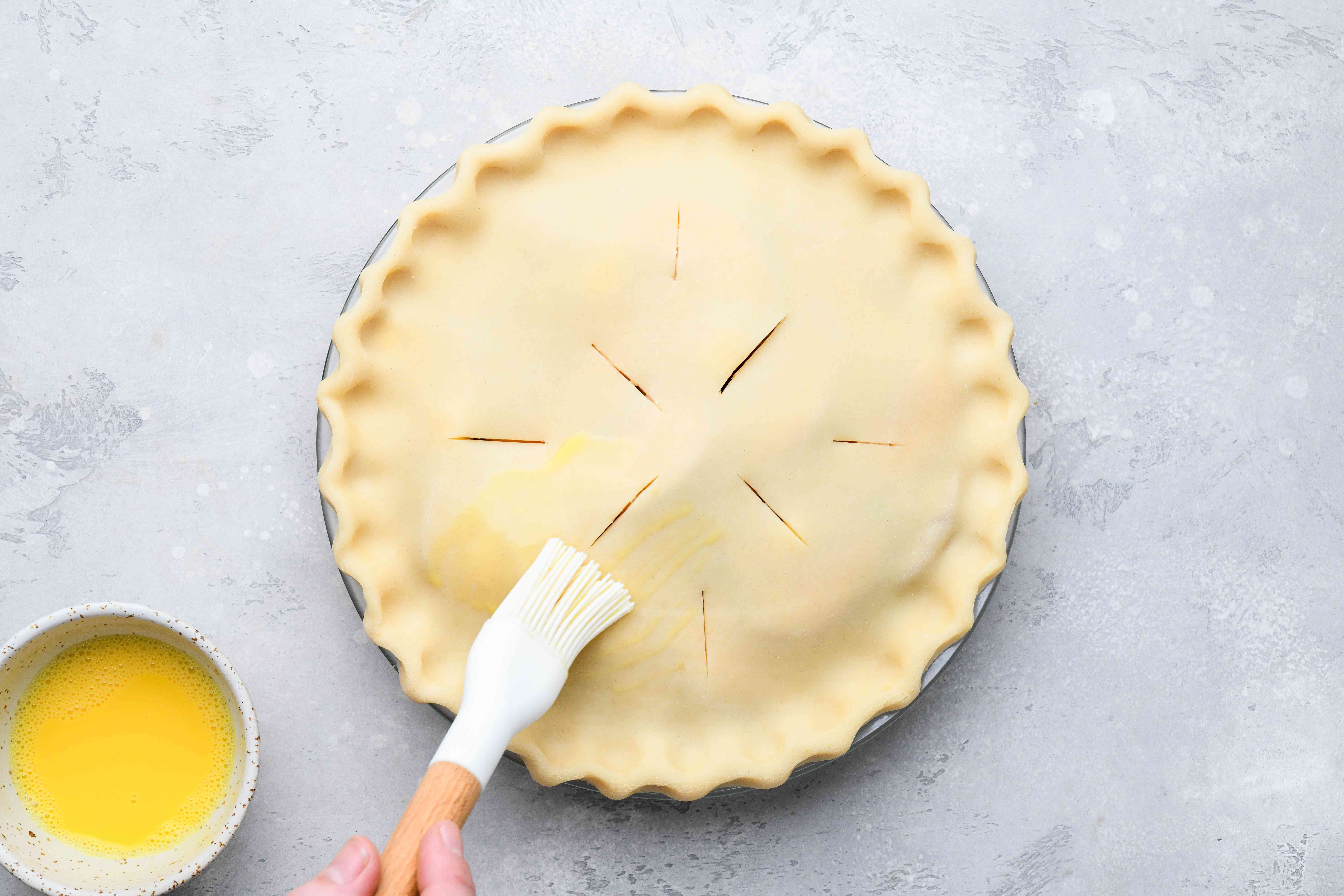 pie crust brushed with egg wash