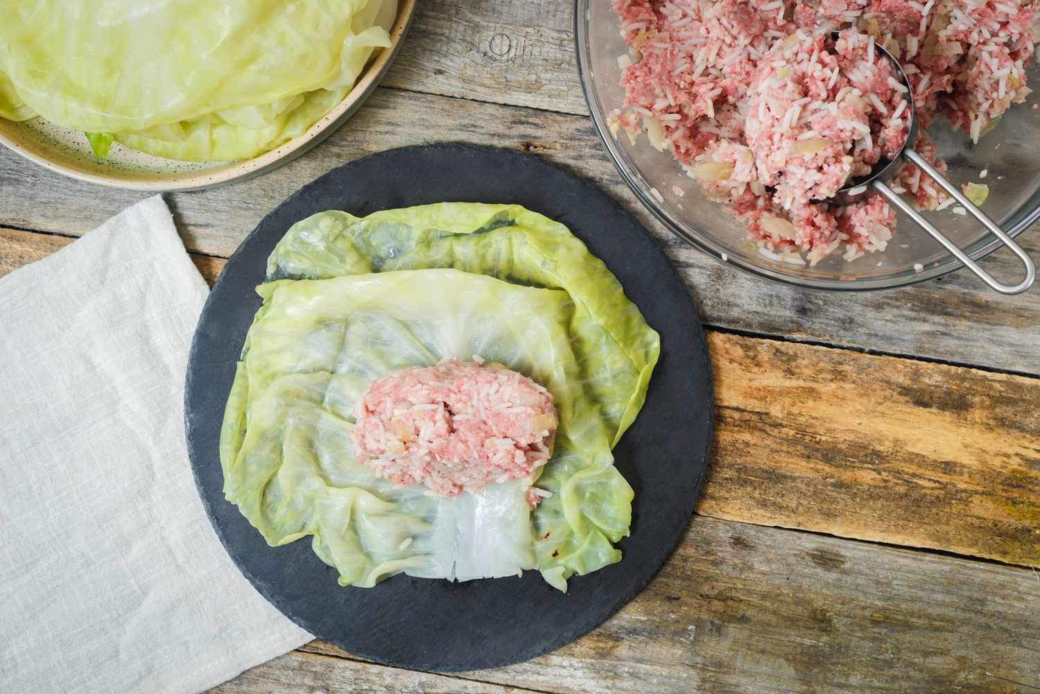 Meat mixture on cabbage leaf