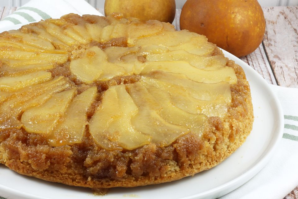 Skillet pear upside-down cake