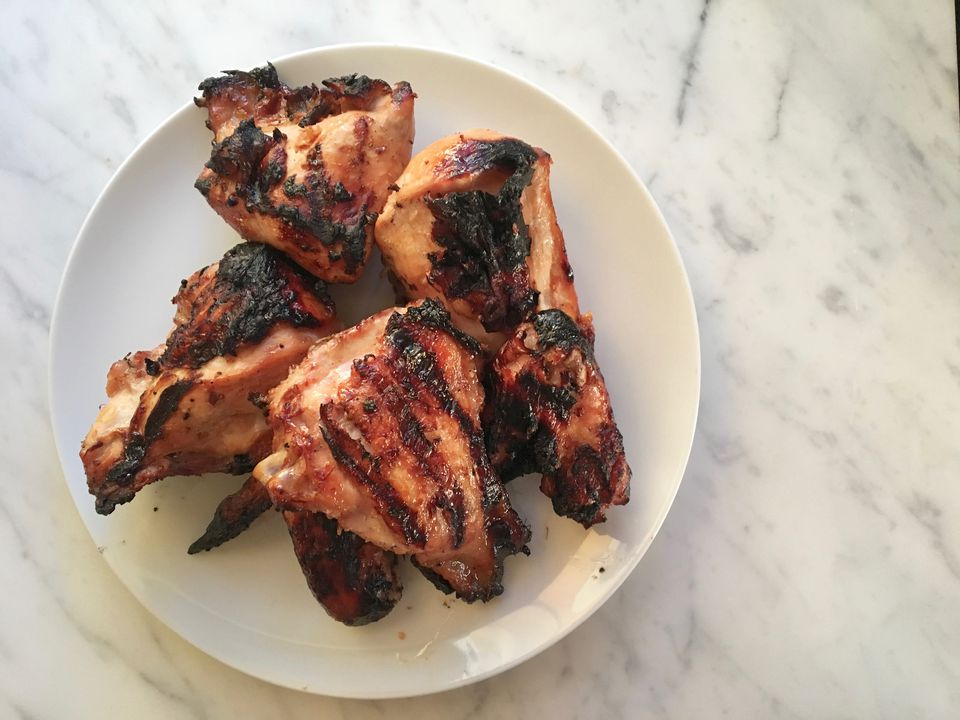 A plate of huli huli grilled chicken