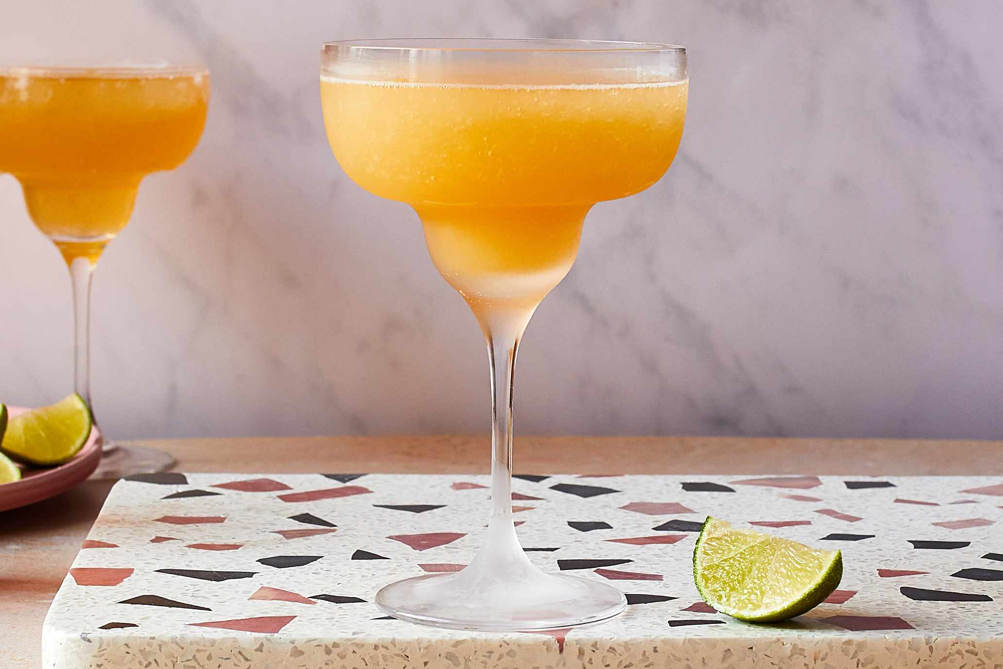 Pour into a chilled coupe, margarita glass