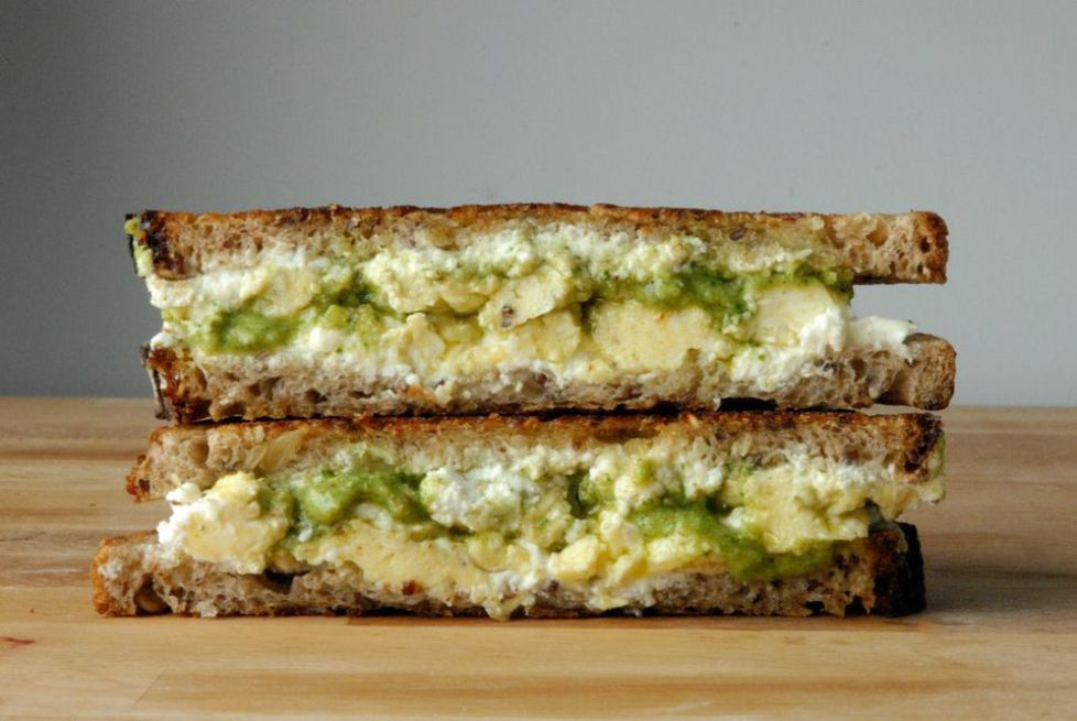 Breakfast Grilled Goat Cheese With Scrambled Eggs and Arugula Pesto