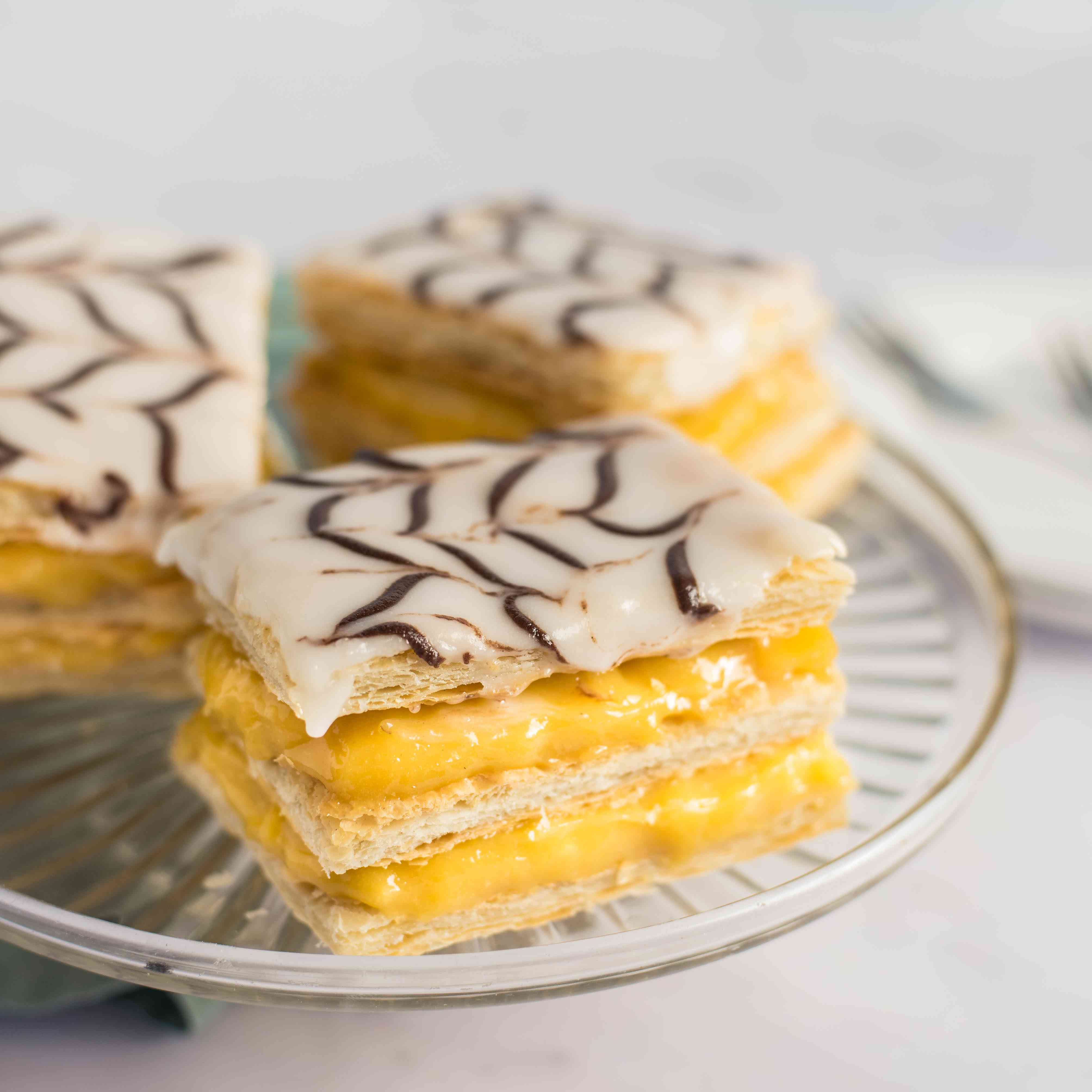 The finished mille-feuille are served on a plate