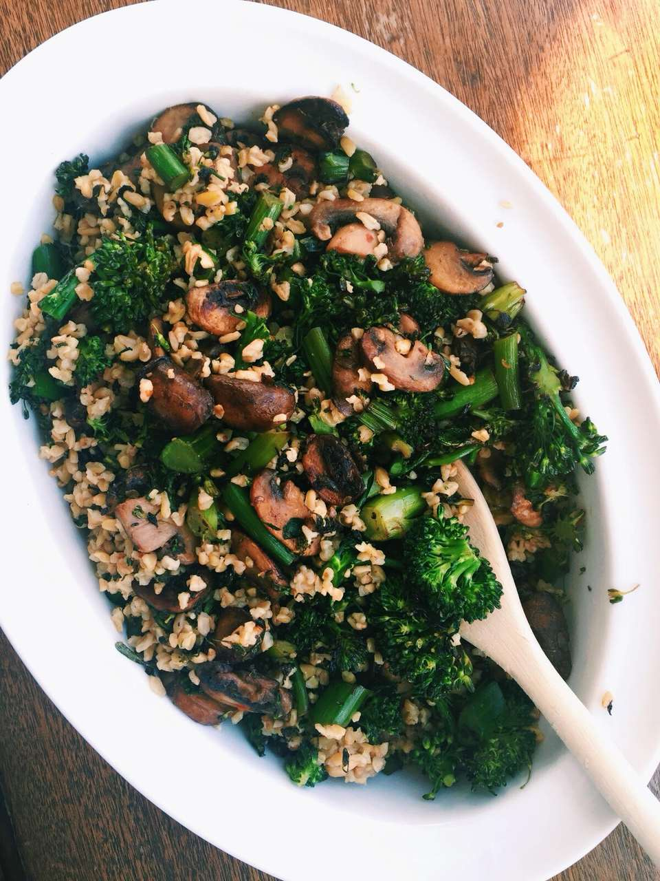 Sautéed Mushroom, Broccoli Rabe and Freekeh Salad