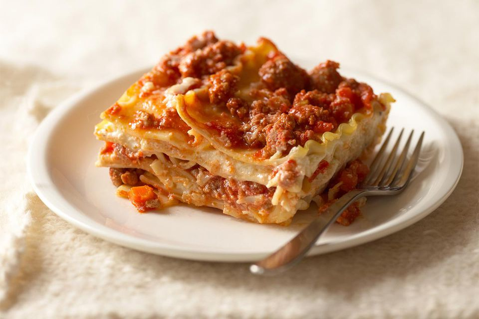 Lasagna with white and red sauce