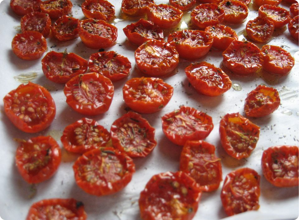 Oven-dried cherry tomatoes