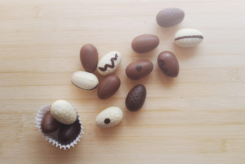 White chocolate, dark chocolate and milk chocolate easter eggs