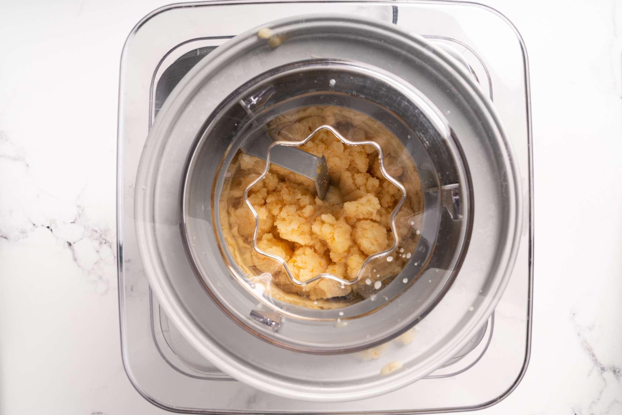 Orange Sorbet in an ice cream machine
