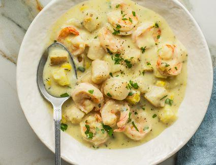 Creamy corn and seafood chowder