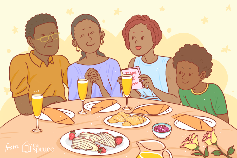 illustration of family celebrating mother's day with a homemade brunch