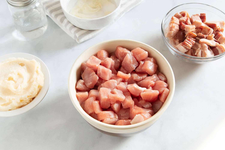 pork meat in bowls