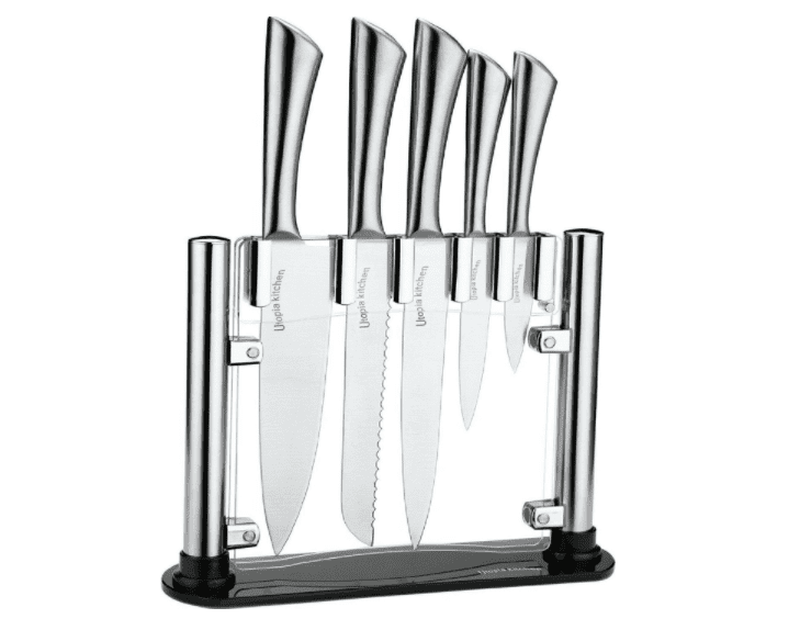 Utopia Kitchen Stainless Steel 6 Piece Knives Set (5 Knives plus and Acrylic Stand)