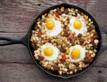 Beef hash topped with eggs