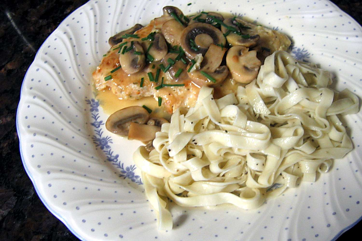 Chicken With Mushrooms and Wine Sauce