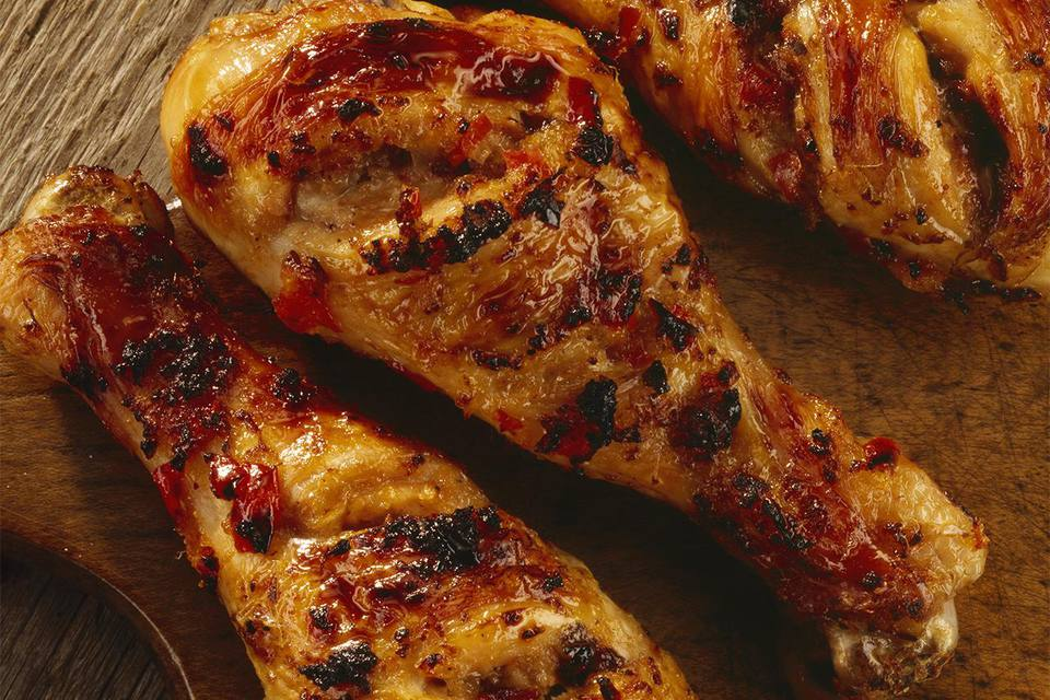Jamaican jerk chicken on a chopping board