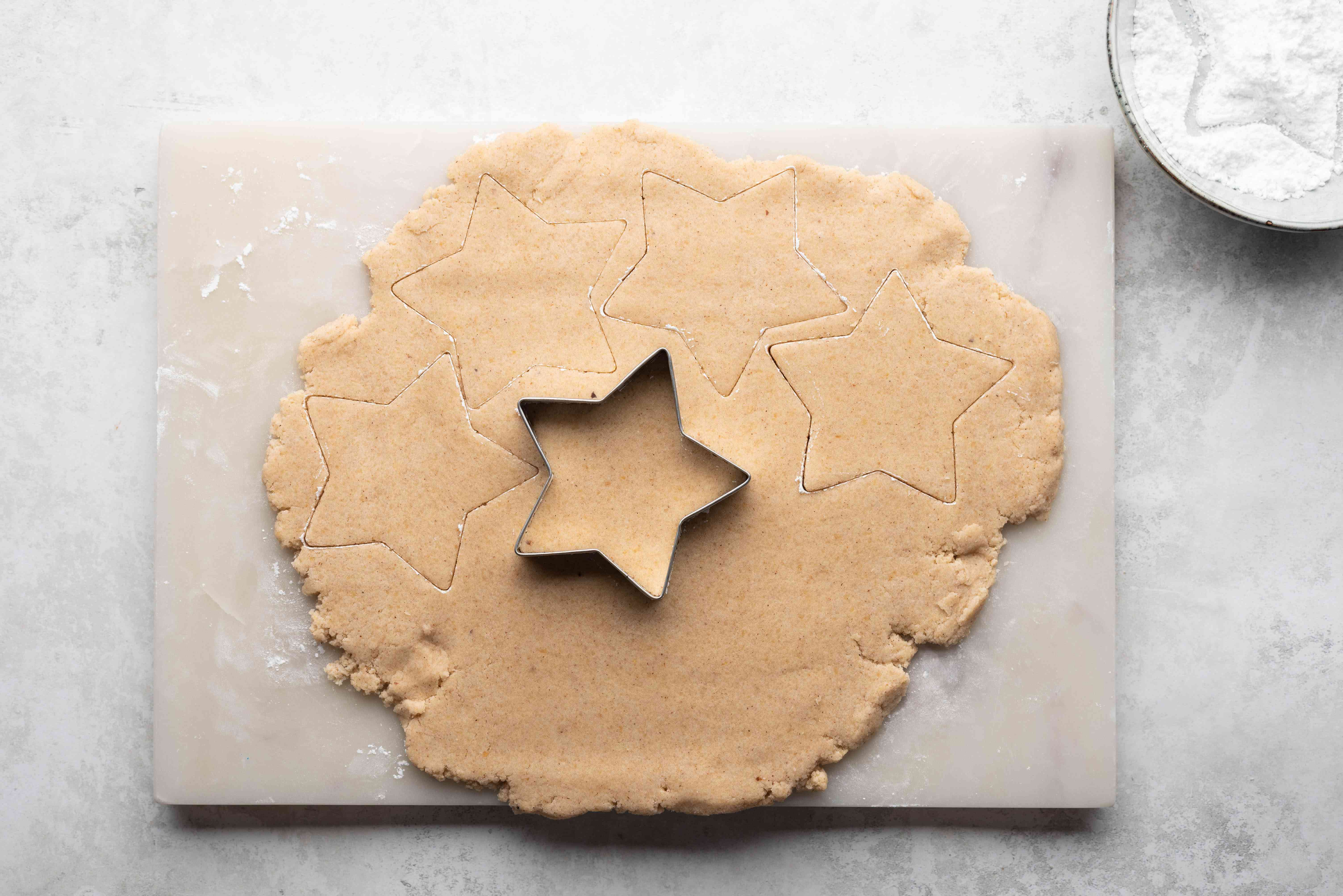 rolled out cookie dough, star cookie cutter