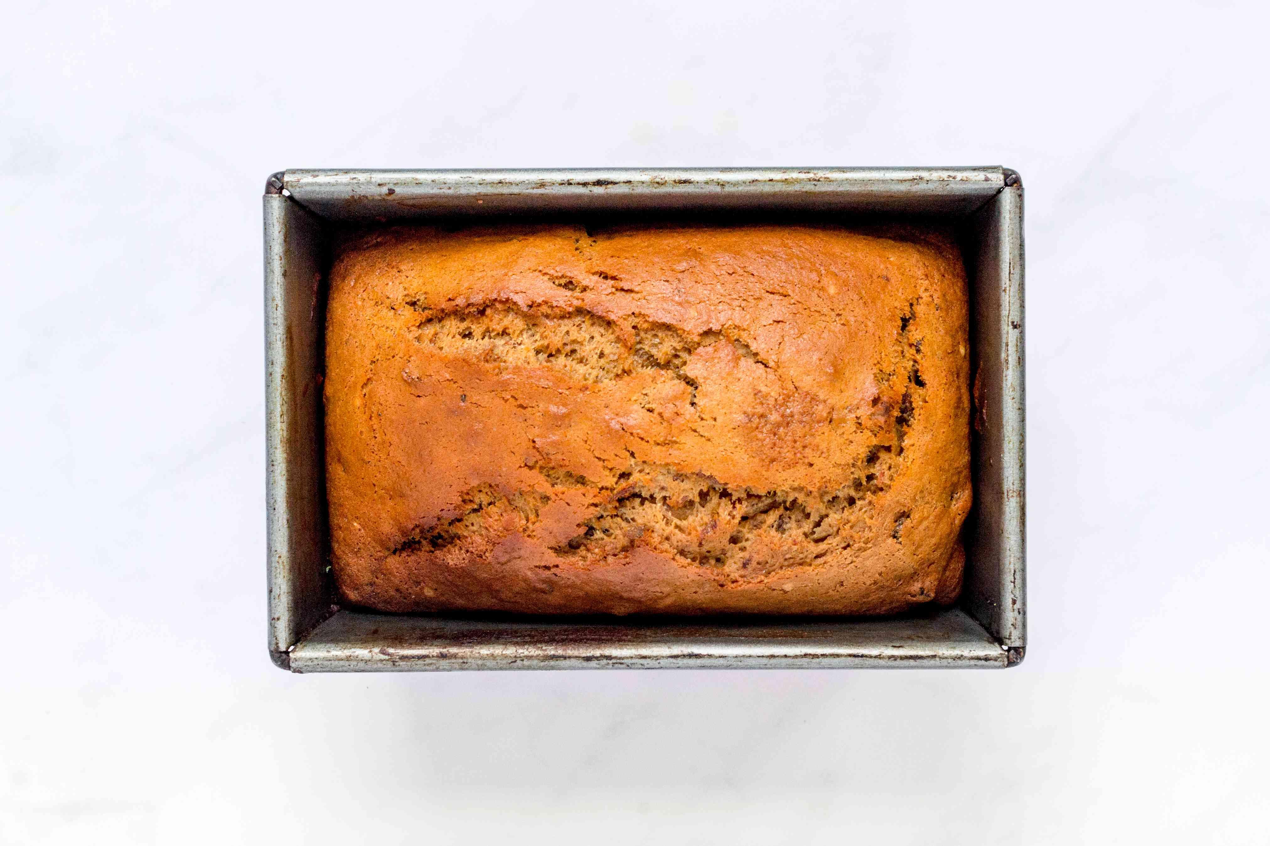 Classic Moist Date Nut Bread in a loaf pan