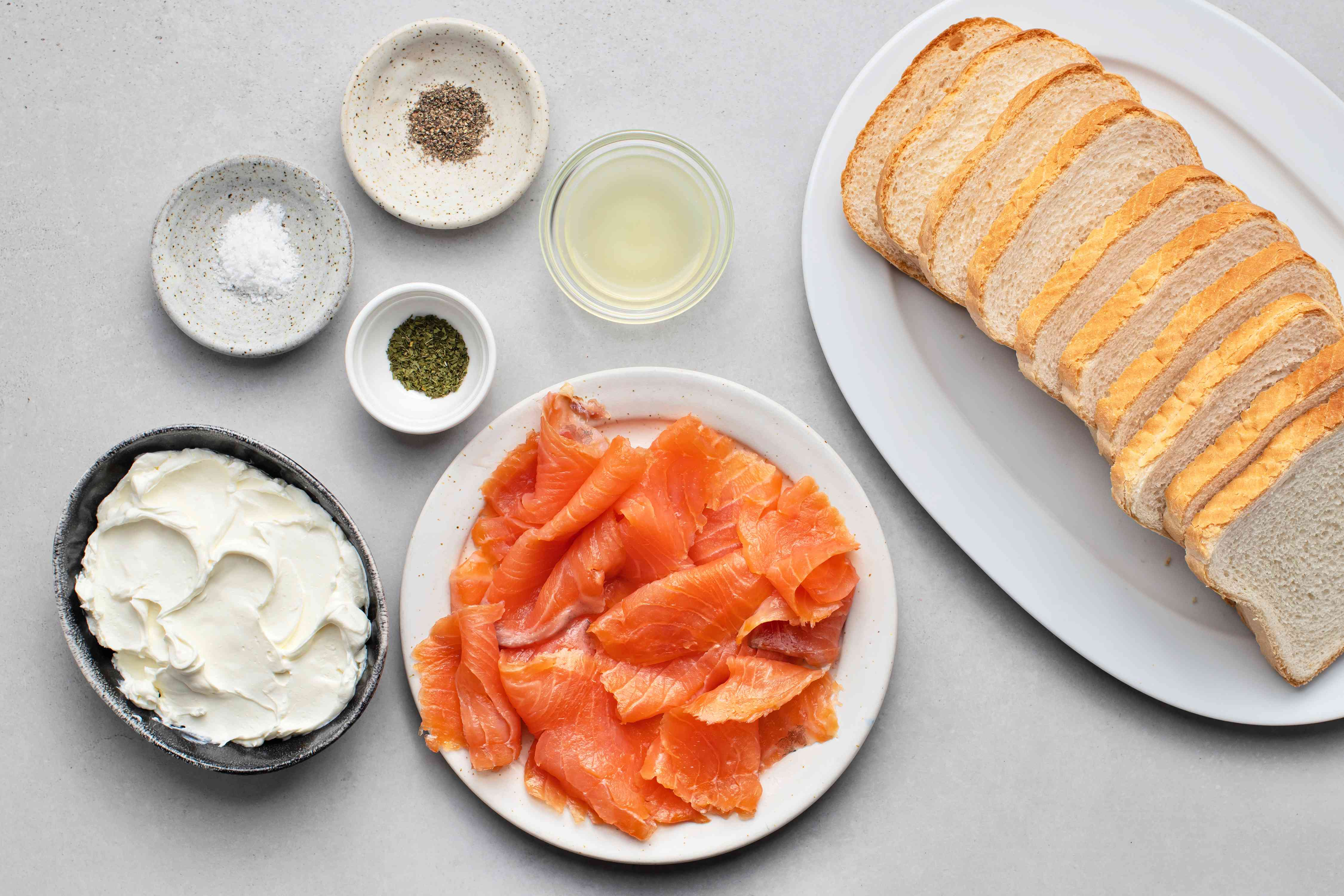 Salmon and cream cheese tea sandwiches ingredients