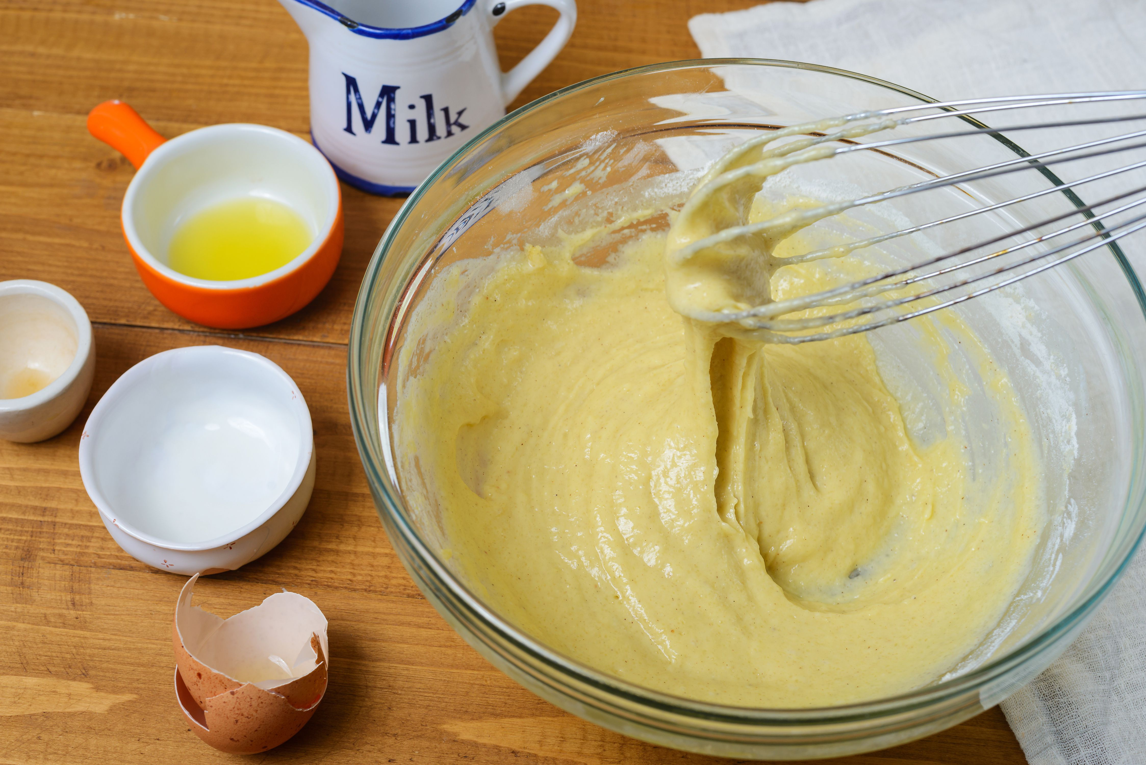 Add milk and olive oil