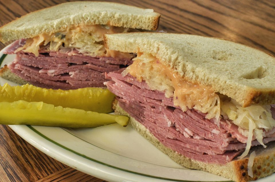 Corned beef sandwich with cole slaw and Russian dressing
