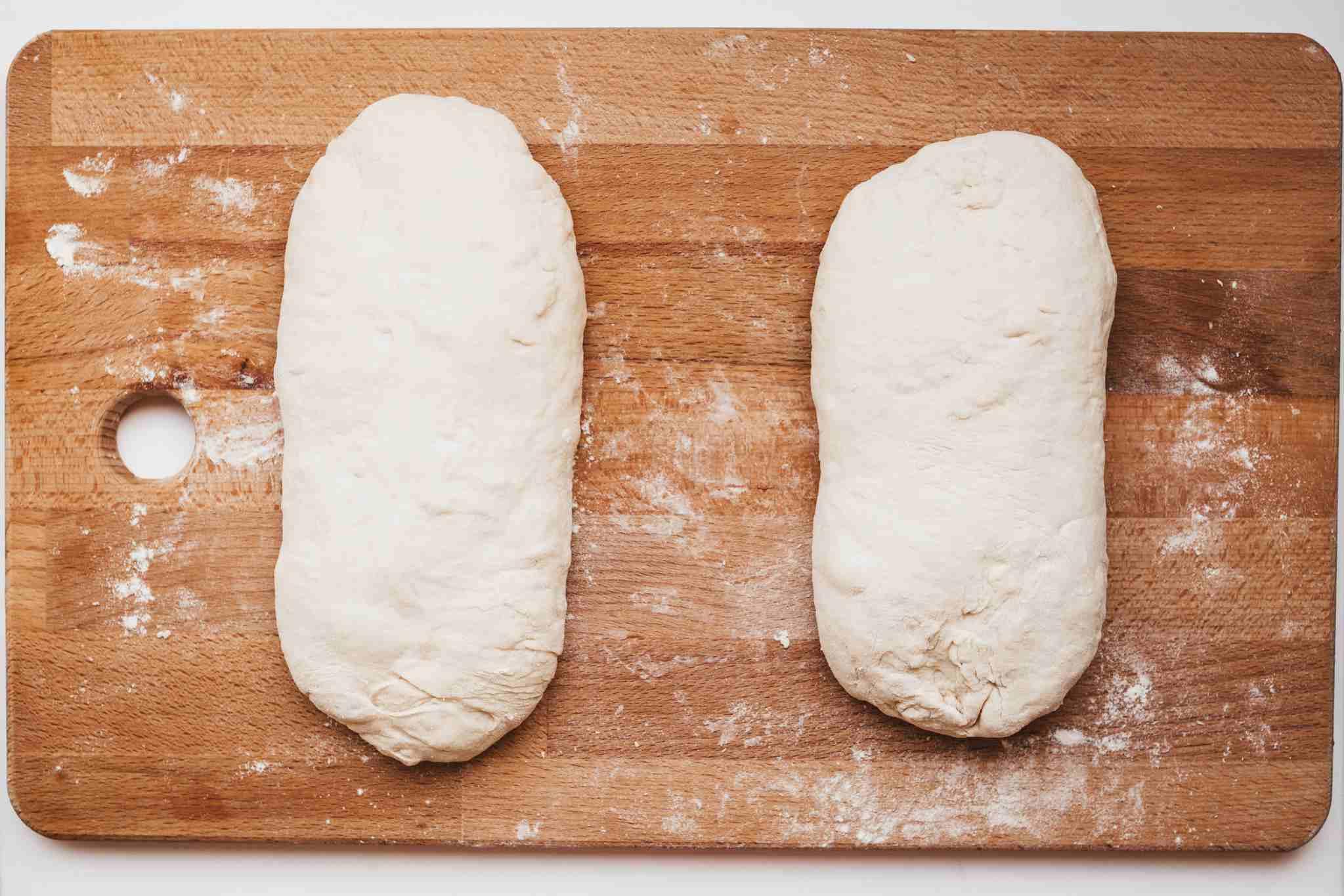Divide dough into two pieces