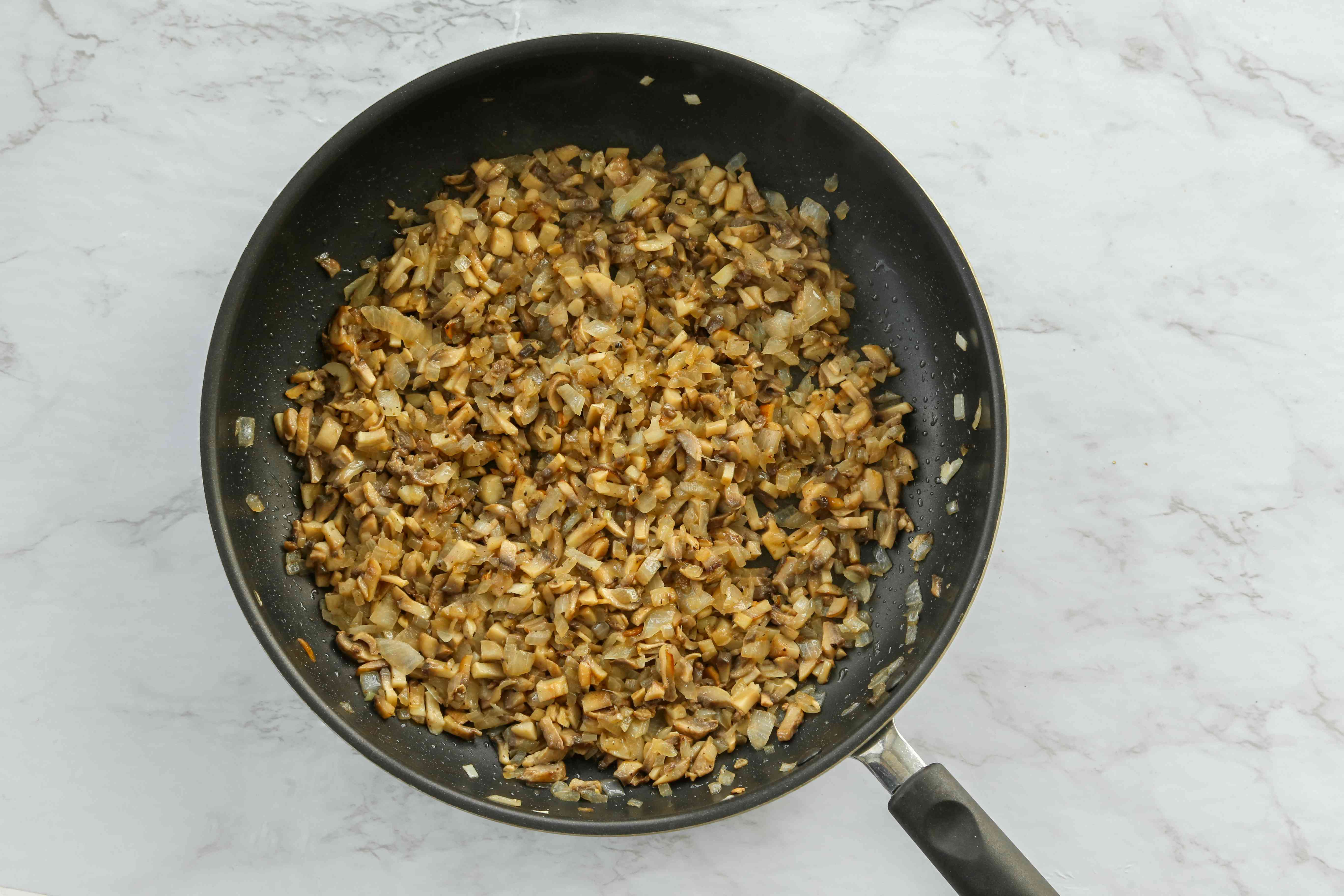 Cook the onions and mushrooms together