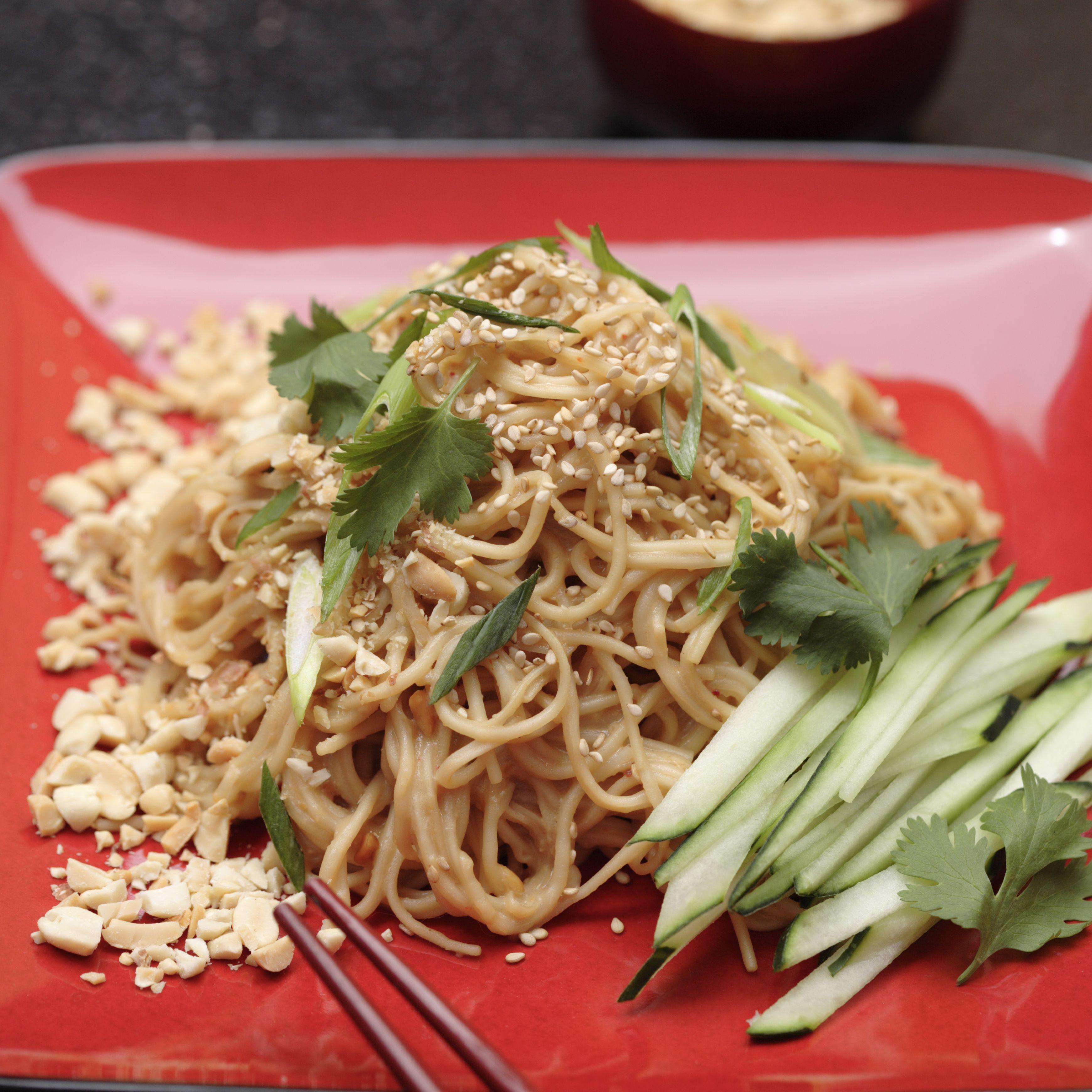 Noodles in peanut sauce