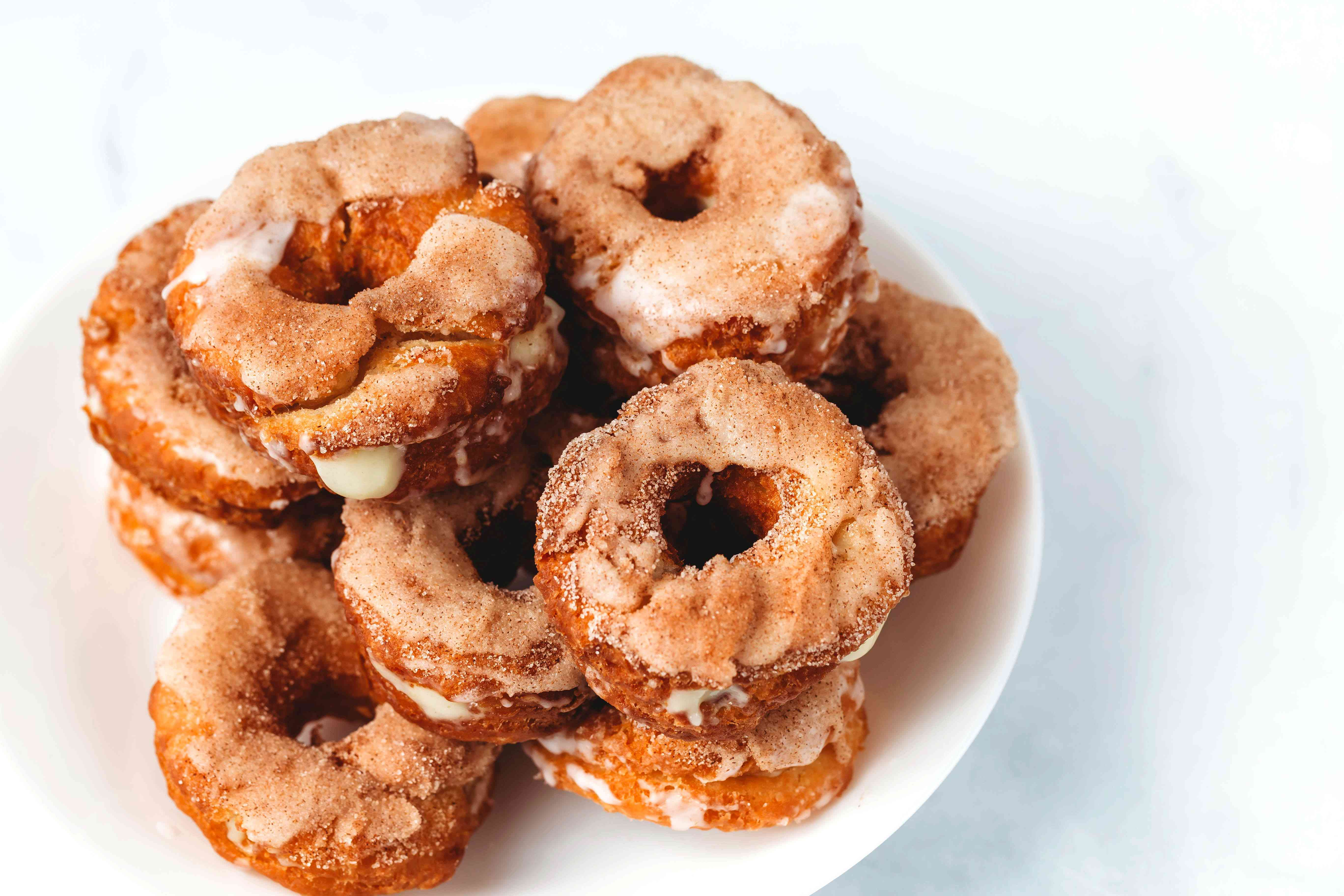 Homemade Cronuts on a plate