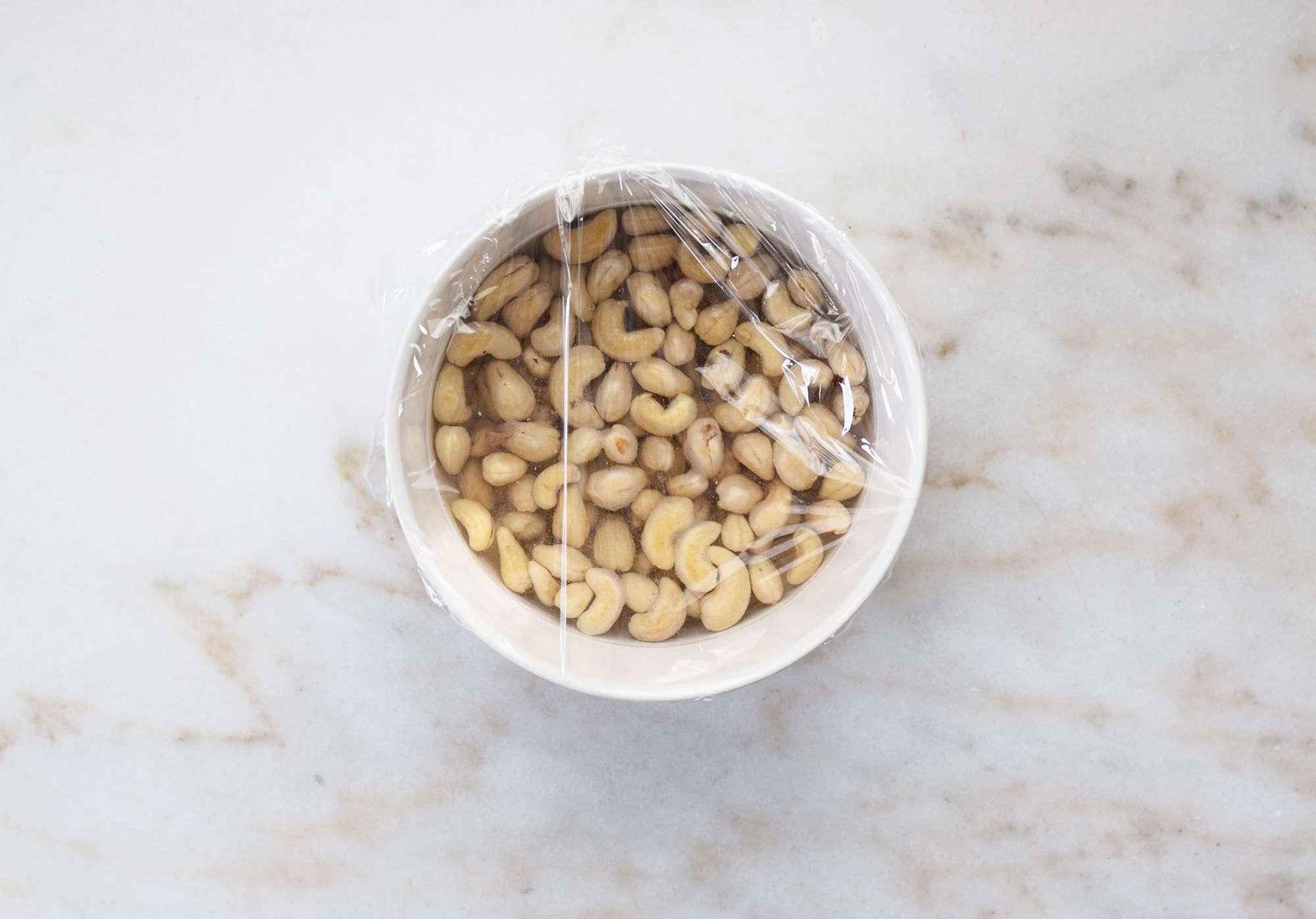 cashew nuts soaking in water