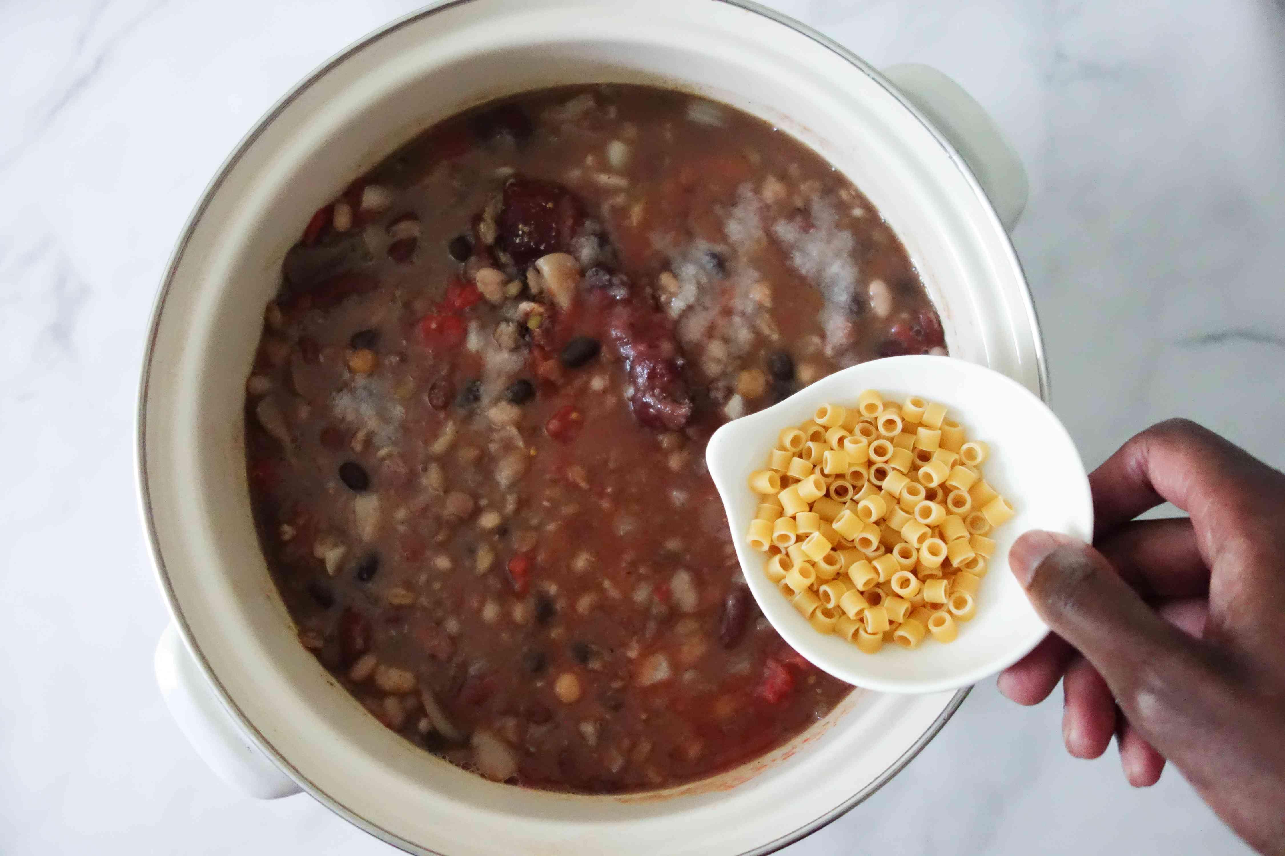 Stir salt and pasta into the 9-bean soup