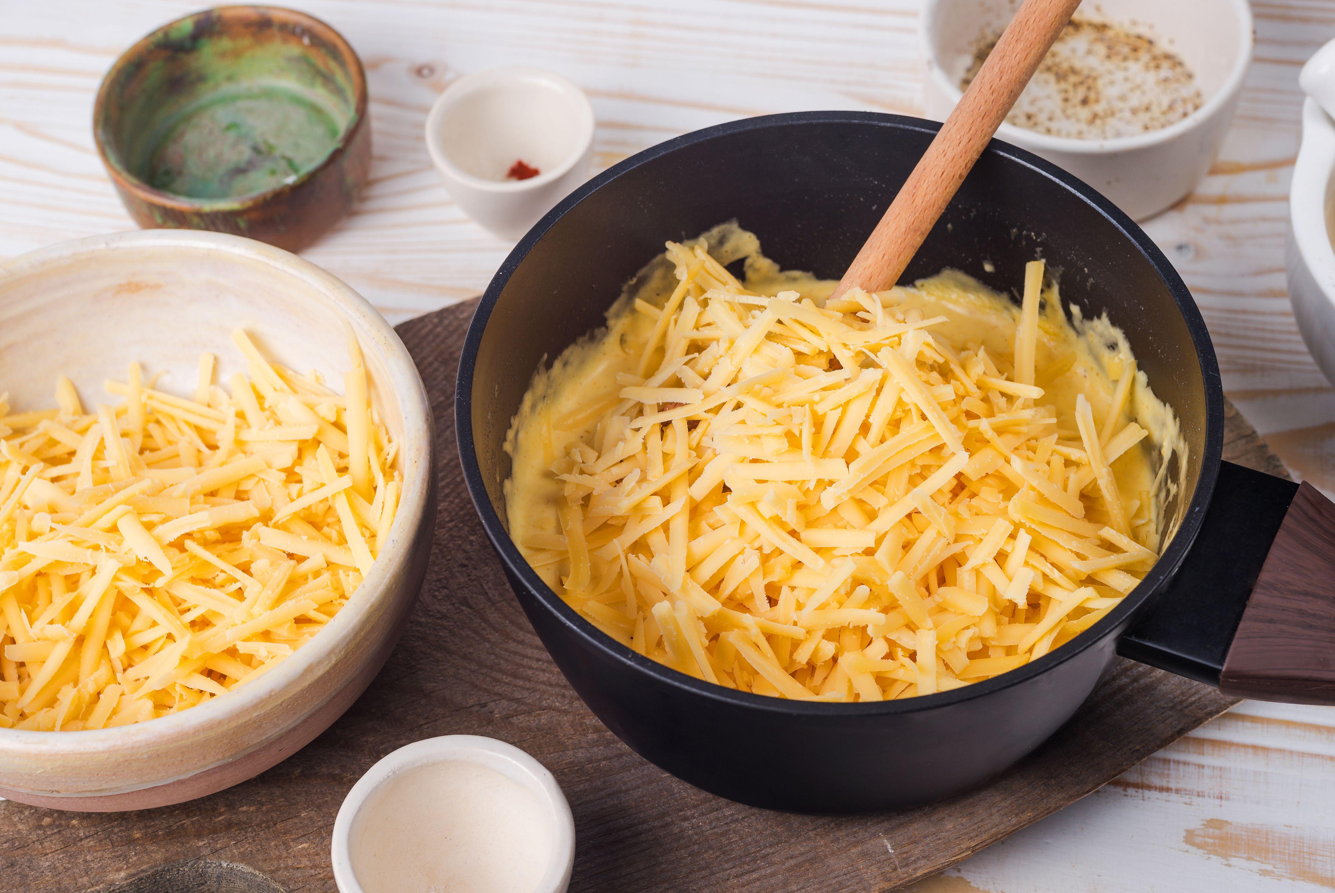 Stir in shredded cheese