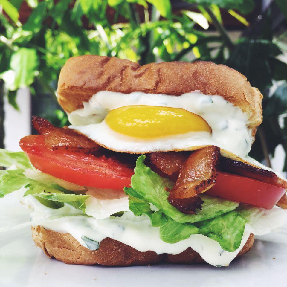 Bacon, Lettuce, Tomato, and Egg Sandwich