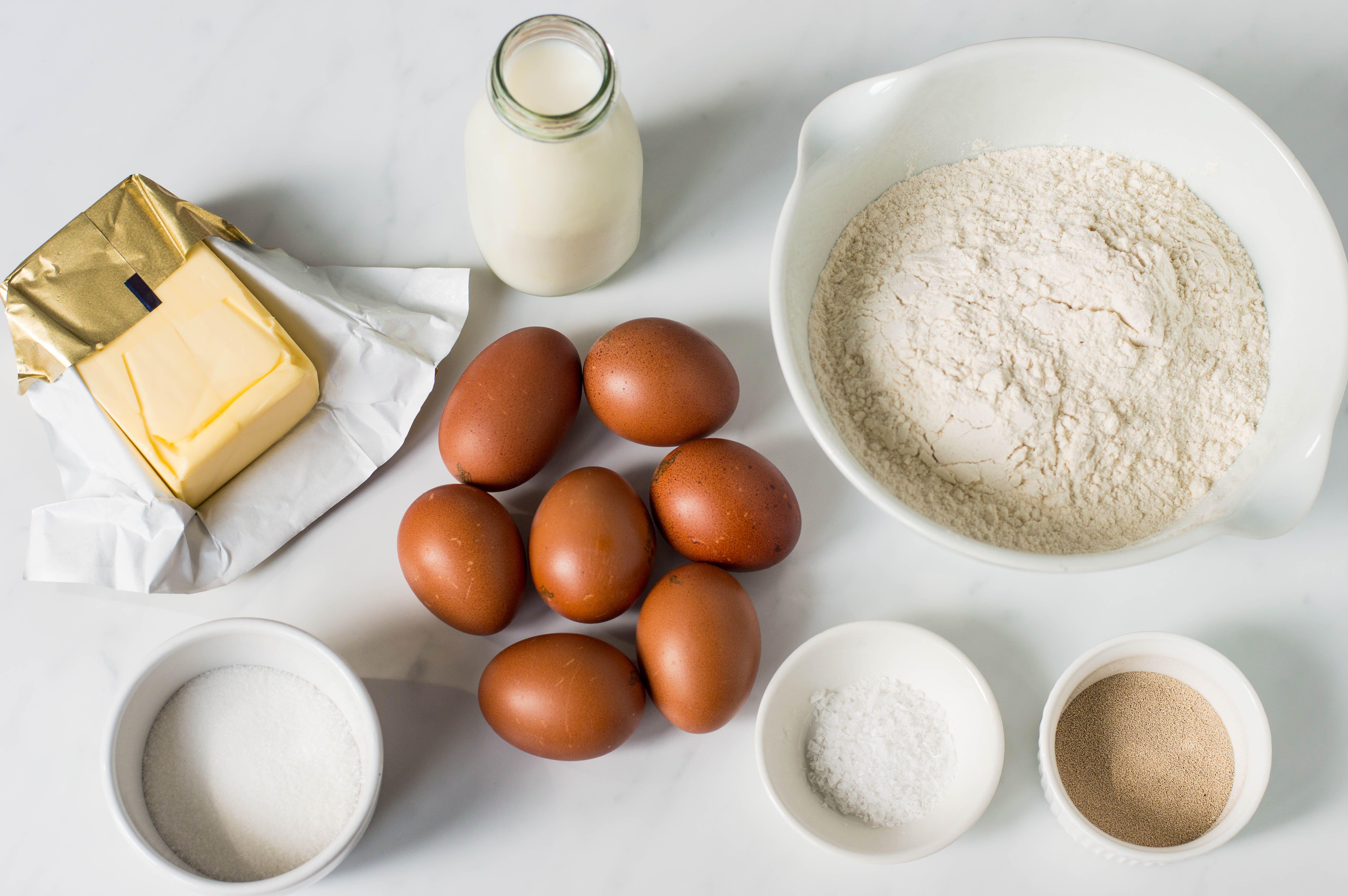 Basic Brioche ingredients