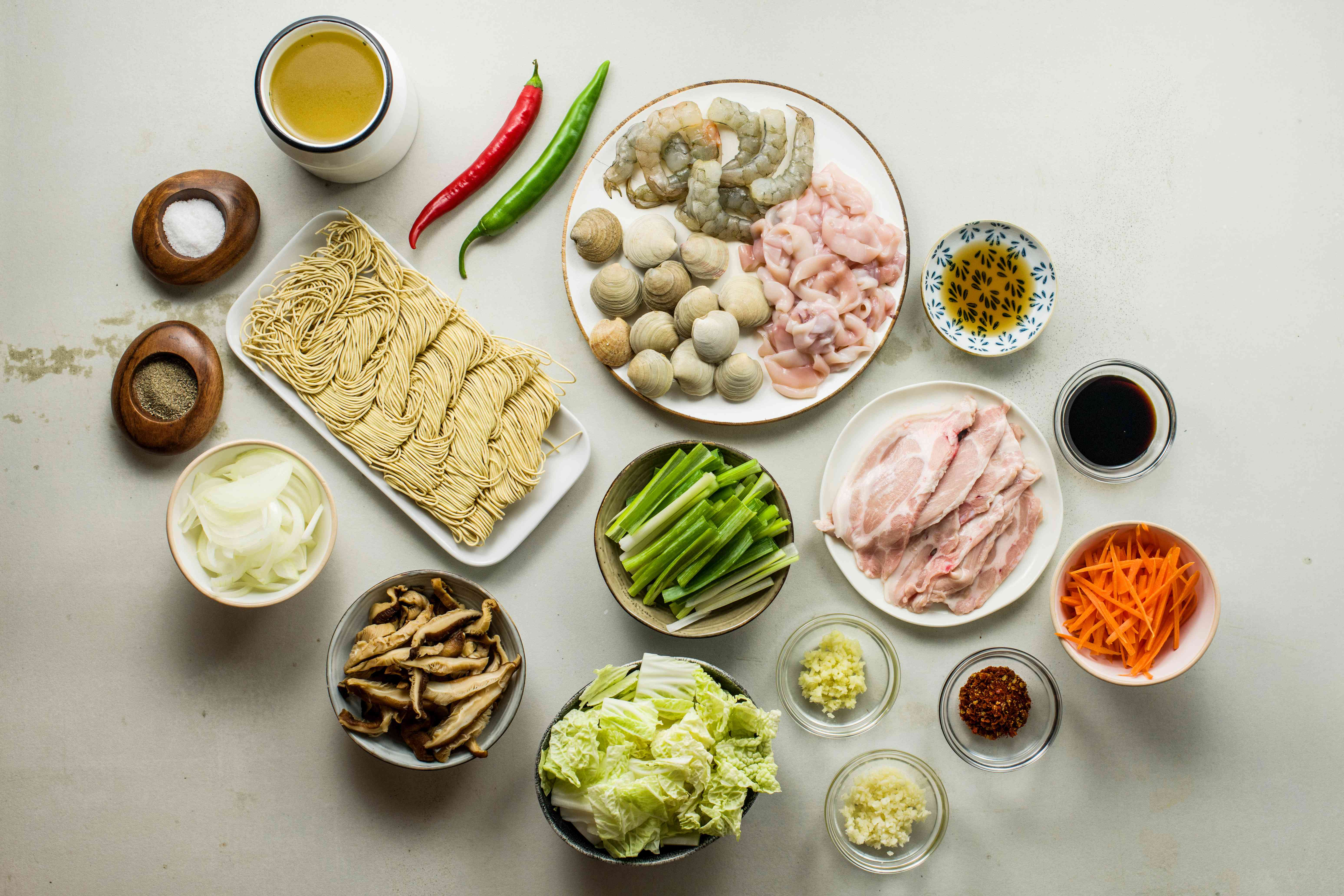 Ingredients for spicy Korean Chinese seafood soup