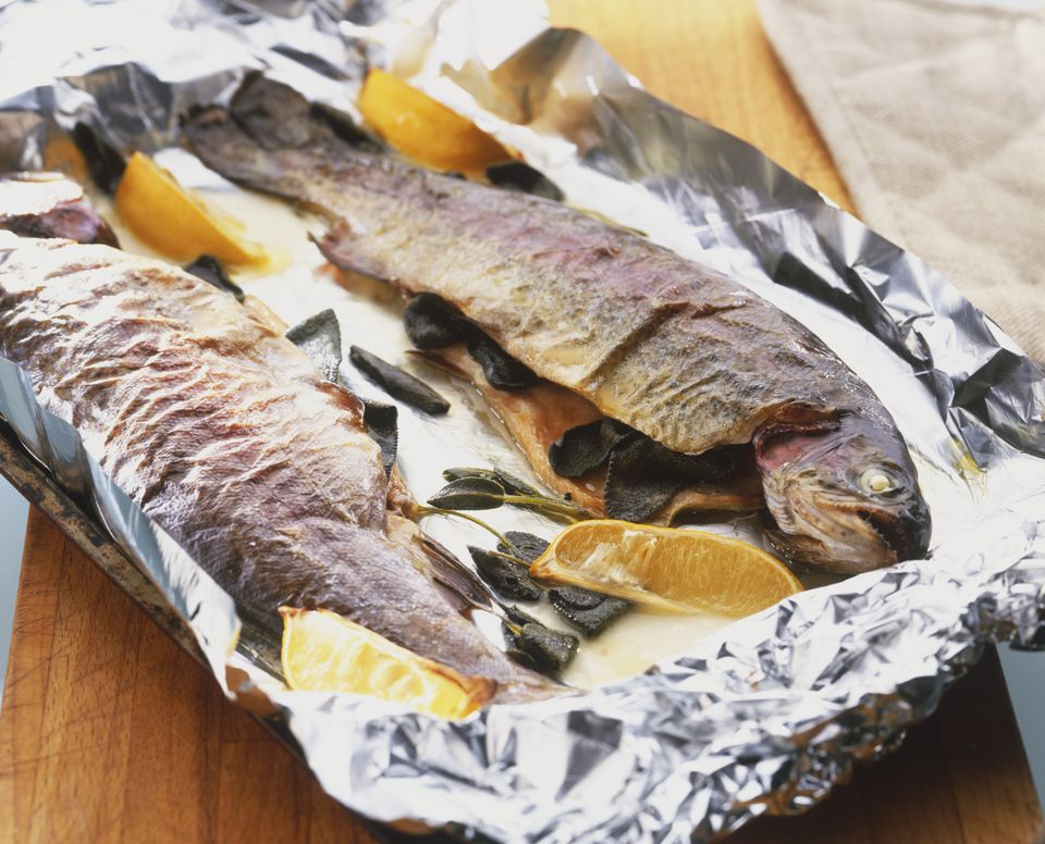Trout in foil with lemons