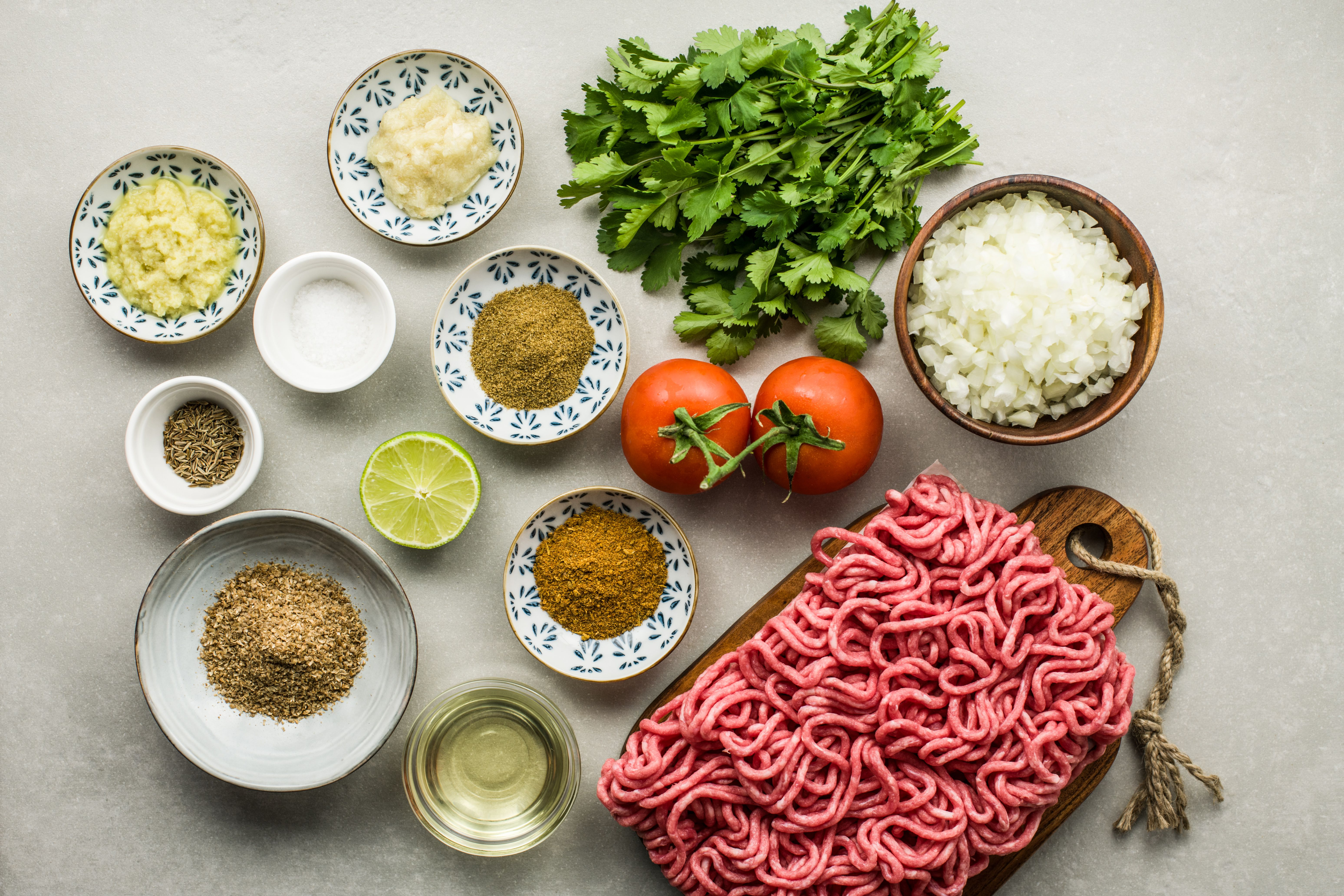Ingredients for masala kheema dry spicy minced meat