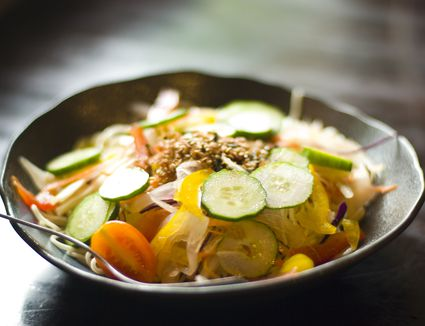 Chinese noodle with vegetables in dish